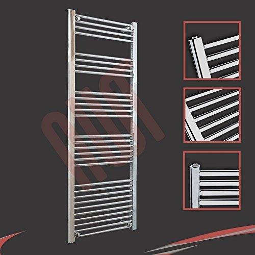 600mm (w) x 1600mm (h) - Radiateur sèche-serviettes plat chromé Barre Horizontale Diamètre: 22mm, Bar Modèle: 4 + 5 + 6 + 7 + 10