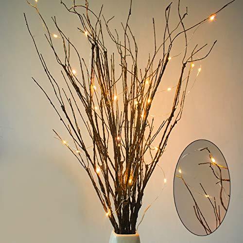 MISSWARM 10 Stück beleuchtete künstliche grüne Zweige gelockte Weide Zweige 29,5 cm künstliche Zweige mit 30 Micro LED für Home Office Party Hotel Restaurant Terrasse Branche with LED -
