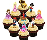 Pirates and princesses Party Pack, Kids 'Edible Cupcake Toppers – stand-up Wafer Cake Decorations by Made4You