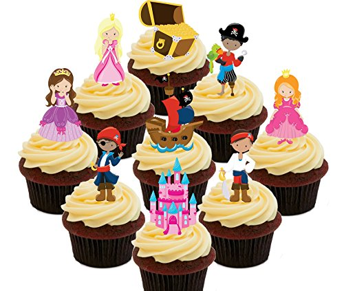 Made4You Piraten und Prinzessinnen Party Pack, bunte Kids 'Essbare Kuchen Dekorationen - Stand-Up Wafer Cupcake Topper, Pack of 72