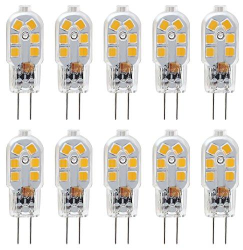 KDP KINDEEP G4 1.5W Bi-Pin Stiftsockel-Lampe 20W Halogenlampen Ersatz, 150LM Warmweiß 3000K, DC/AC 12V, globaler 360° Abstrahlwinkel, Nicht-dimmbar, 10er-Pack.