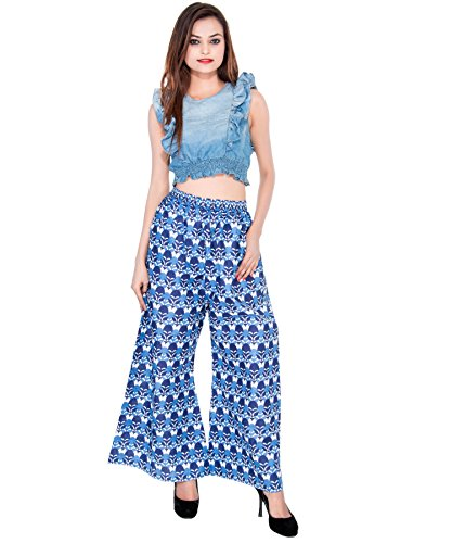 CAY Blue Color Flower Printed Plazzo With Elastic Waist And Two Pockets ( SIZE : FREE SIZE )