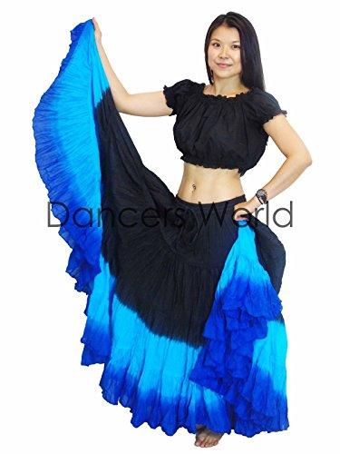 Royal Kostüm Dancer - Dancers World Ltd (UK Seller) Tänzer Welt 2pc 25Yard Baumwolle Rock für Tribal Gypsy Bauchtanz Röcke ATS, Black Turq Royal Blue