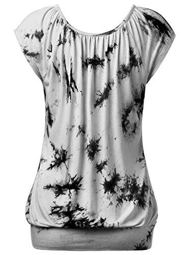 WAJAT Damen Raglan Falten T-Shirt Kurzarm Stretch V-Ausschnitt Tie Dye Grau&Schwarz