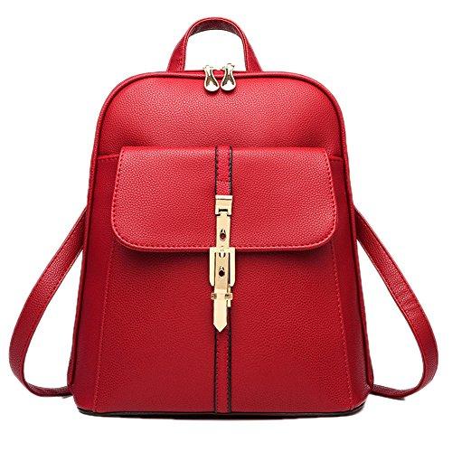 DELEY Korea Style Damen Tote Handtasche Schulter Tasche Mädchen Schule Rucksack Schultertasche Rot