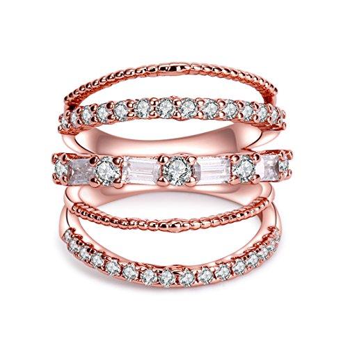 Crarine anello per donna, con zircone cubico eternità promessa anello fiore top infinity wedding band e na, 11,5, cod. 1