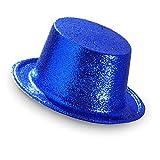 WIDMANN- Cilindro Glitter Blu Cappello Adulto, Multicolore, taglia unica, 28056