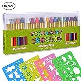TankerStreet Enfants Peinture Set 16 Pièces Peinture Visage et Corps Crayons Non-Toxique Bâtons de Maquillage Stick et 4 Dessin Animé Pochoirs Règles pour Journal Intime Art Craft DIY Projet Coloré