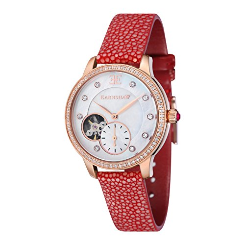 Thomas Earnshaw Women's Automatic Australis Mechanical Watch with White Dial Analogue Display and Red Strap ES-8029-08