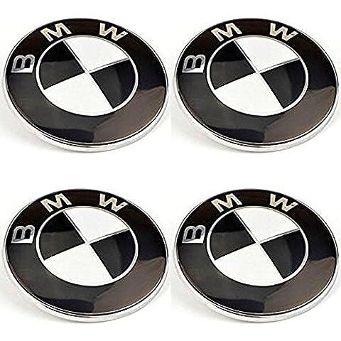 4 x BMW Emblem SCHWARZ Felgen Aufkleber Logo Nabendeckel Nabenkappe Radkappe 56 mm