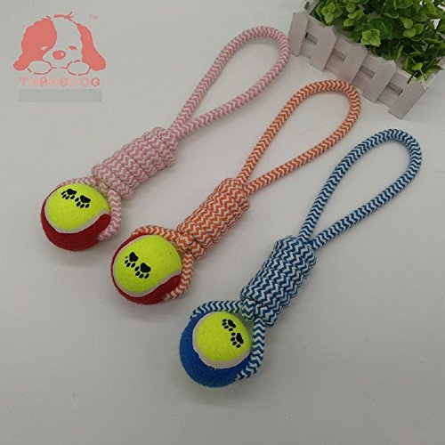 XJoel jouet pour chien Durable X-Large balle robuste géant avec poignée Chew corde jouet pour petite, moyenne ou grande X-Chewers agressifs (couleur aléatoire)