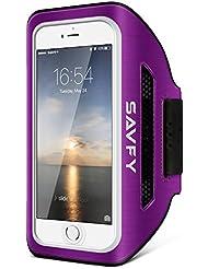SAVFY iPhone 7 Sportarmband Handyhülle Neues Design für iPhone 7/6S/6 4,7 Zoll Trainingsarmband Fitness Armband mit Sichtfenster für Sportler, Jogging, Sporttaining, Gym, Radfahren, 2017 Neues Design (Lila)