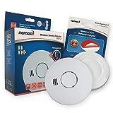1x Nemaxx HW-2 Funkrauchmelder Rauchmelder Hitzemelder mit kombiniertem Rauch- und Thermosensor nach DIN EN 14604 + NX1 Quickfix Befestigungspad