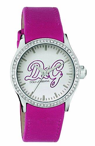 D&G Dolce & Gabbana DW0270 - Orologio da polso da donna, cinturino in pelle colore rosa