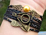 Unique Handmade Bracelet Golden Snitch Bracelet Deathly Hallows and Owls Bracelet Black Leather Braid and Rope Bangle Gift to Harry Potter Fans