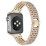 Komise luxe en alliage avec Crystal Link Motif hexagone Bracelet Watch Band Bracelet pour Apple Watch 38mm, longueur de bande: 163mm Taille unique rose gold
