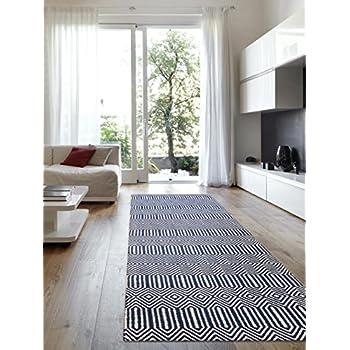 benuta teppich l ufer sloan wolle baumwolle blau 66 x 200 0 x 2 cm k che haushalt. Black Bedroom Furniture Sets. Home Design Ideas