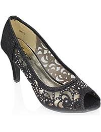 Aarz Boda Prom Mujeres del partido de tarde de las señoras de tacón peep toe Diamante sandalia de los zapatos Tamaño (Oro, Plata, Champagne, Negro)