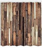 Abakuhaus Duschvorhang, Holz Zaun mit Kernbuche Ahorn Birke Nussbaum Eiche Kirsche Hainbuche und Birke Holz Tönen Druck, Blickdicht aus Stoff mit 12 Ringen Waschbar Langhaltig Hochwertig, 175 X 200 cm