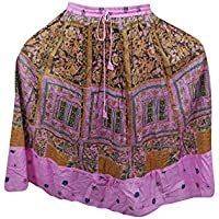 Mogul Interior Womens Skirt Pink Printed A-line Flare Boho Gypsy Festive Skirts