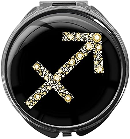 Pill Box with mirror / Star sign Archer in gold