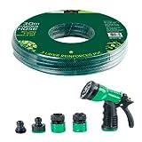 Benross GardenKraft 13760 Gartenschlauch 30m, dreilagiger verstärkter PVC, Düse mit 6 Funktionen