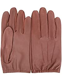 Mens Classic Driving Gloves Vintage Button Style Soft Lambskin Leather Dress Fashion (Extra Large, Brown - 790)