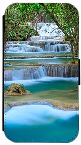 FioMi Flip Cover Hülle Samsung Galaxy S4 Mini Motiv 406 Wasserfall Natur Blau Grün Handy Tasche Etui Schutzhülle Flipcover Case Wallet Bookflip Buchflip