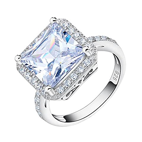 Orsa Jewels White Gold Plated Big Square Silver Ring Princess Cut with Shiny 5ct. Cluster Setting AAA Austrian CZ Crystal Engagement Ring For Women Size R½