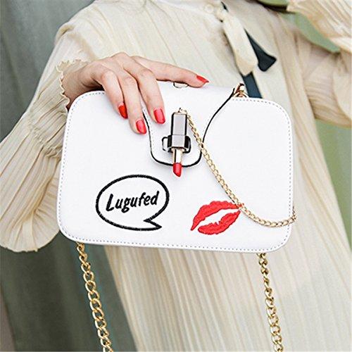 kettenpaket Stickerei lippenstift weiblichen dreiseitigen Schulter messenger bag kleinen quadratischen tasche Weiß