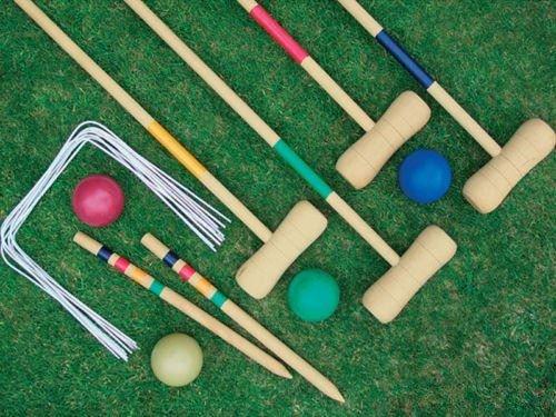 en bois de croquet Garden Fun 4 Player Jeu Jouet d'extérieur Balles Cerceaux Maillets NEUF