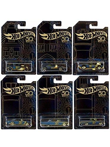 (Hot Wheels 50th Anniversary SET mattschwarz /Gold - Bone Shaker, Twin Mill, Rodger Dodger, Dodge Dart, Impala & Ford Ranchero)