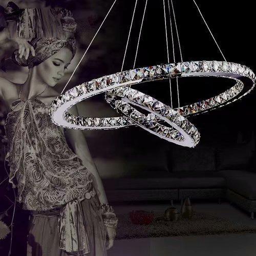LOCO lusso moderno pendente di cristallo LED con due anelli unici, moderna casa soffitto plafoniera, illuminazione a sospensione lampadari a sospensione
