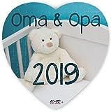 Puzzle-Botschaft Herz ~ Oma & Opa 2019 - Teddy ~ 75 Teile 19x19cm inkl. Geschenk-Beutel ~ WB wohn trends®