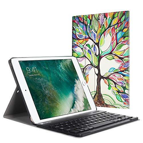 Fintie Tastatur Hülle für iPad 9.7 Zoll 2018 2017 / iPad Air 2 / iPad Air - Ultradünn leicht Schutzhülle Keyboard Case mit magnetisch Abnehmbarer drahtloser Deutscher Bluetooth Tastatur, Liebesbaum