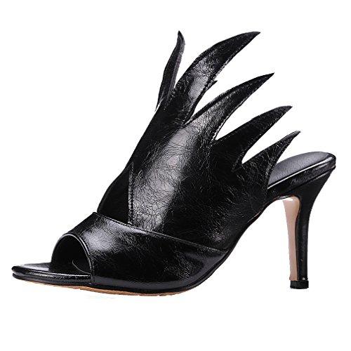 YE Damen Peep Toe Stiletto High Heel Slingback Sandalen Elegant Perty Pumps Schuhe Schwarz