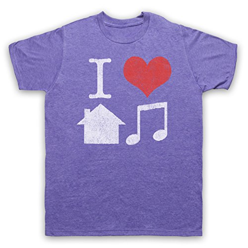 I Love House Music Slogan Herren T-Shirt Jahrgang Violett
