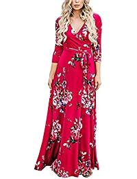 2570f0a0b Lover-Beauty Vestido Largo Floral Print Casual para Noche Fiesta Playa  Fiesta Manga Larga Cuello
