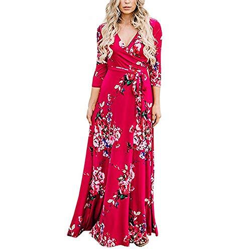 Lover-Beauty Sommerkleider Damen V Ausschnitt Langärmelig Kleider Sommer Boho Röcke Lange Abendkleid Strandkleid Sundress rot XL (Formale Rot Langarm Kleid)