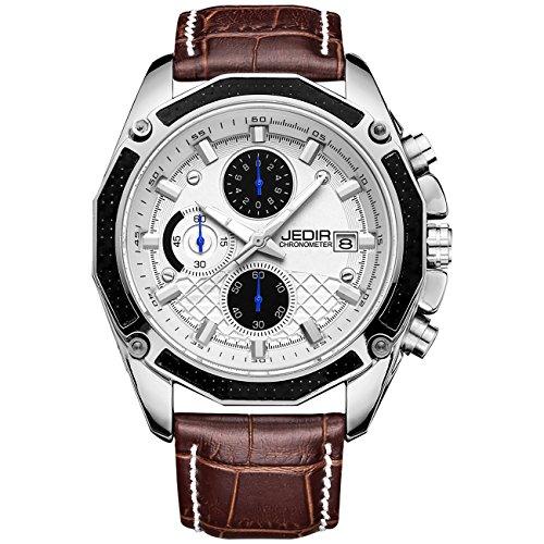 JEDIR Herren Chronograph Uhr weißes Zifferblatt schwarz arabische Ziffern Sport Stil braun weichen Lederarmband