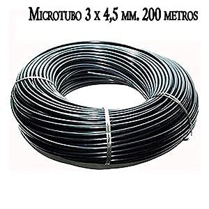 MICROTUBO Flexible 3 x 4,5 mm. Bobina 200 METROS. Tubo de color NEGRO. Tubería utilizada para riego por goteo. Tuberia…