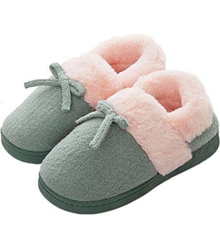 Minetom-Mujer-Hombre-Invierno-Interior-Zapatillas-De-Estar-Por-Casa-Pareja-Felpa-Skidproof-Bowknot-Algodn-Zapatos