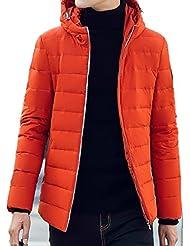 LQABW El Invierno Caliente Por La Chaqueta Capa De La Manera De Corea Del Hombre Versión Delgado Con Capucha,Orange-L