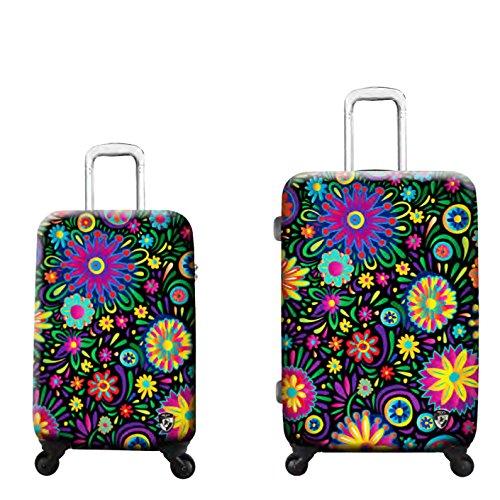 Sets de Bagages, valises - Première Classe Valise Rigide Set 2 pièces - Heys Artistes Limon Flowers Dance Bagages à Main + Trolley avec 4 Roues Mèdias