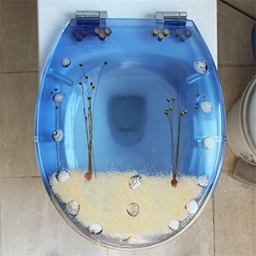 Uncle Sam LI Coquillages Résine Creative Thickening UVO universelle de siège de toilette | Charnières Stable | Facile à monter |