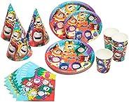 Oddbods - Juego de suministros y decoraciones para fiesta de cumpleaños para niños con platos, tazas, sombrero