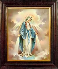 Idea Regalo - Madonna miracolosa medaglia con stampa artistica, finitura in mogano legno cornice 25cm 30cm con peltro Love double Heart Pewter token 8320