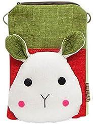 Cartoon Canvas Phone Package Version coréenne Mini Bag Green Patchwork Rabbit Head