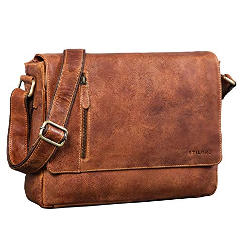 STILORD \'Davis\' Messenger Bag Leder 13 Zoll Laptop Tasche Vintage Umhängetasche Schultertasche für Uni Büro Büchertasche Messengertasche Echtleder, Farbe:Arona - braun