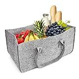 Chimenea Madera Funda, aodoor cesta para leña Cesta Fieltro–Soporte para periódicos, alta calidad se puede cargar–Cesta con un montón de madera. aprox. 50x 25x 25cm (gris claro)